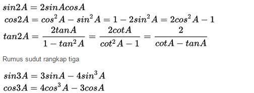 rumus sudut rangkap dua dan tiga